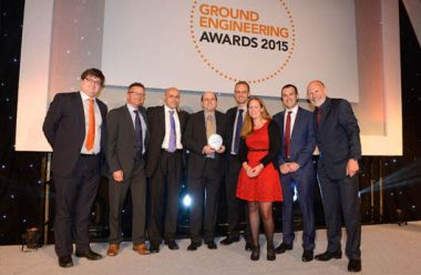 Receiving the award. From the left: the award presenter, Stephen Mackereth (Structural Soils), Marek Wysoglad (Horizon), Adrian Barby-Moule (Structural Soils), Rob Hunt (Atkins), Vix Edmonds (Atkins), Ed Hodge (Horizon) and Simon Evans (comedian and presenter)