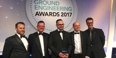 Proud to be accepting the Health and Safety Award. From left to right: A representative from award sponsor Groundforce, Steve Mackereth, Nick Reichelt and Adrian Barby-Moule from Structural Soils, and comedian and actor Marcus Brigstocke, who presented the award
